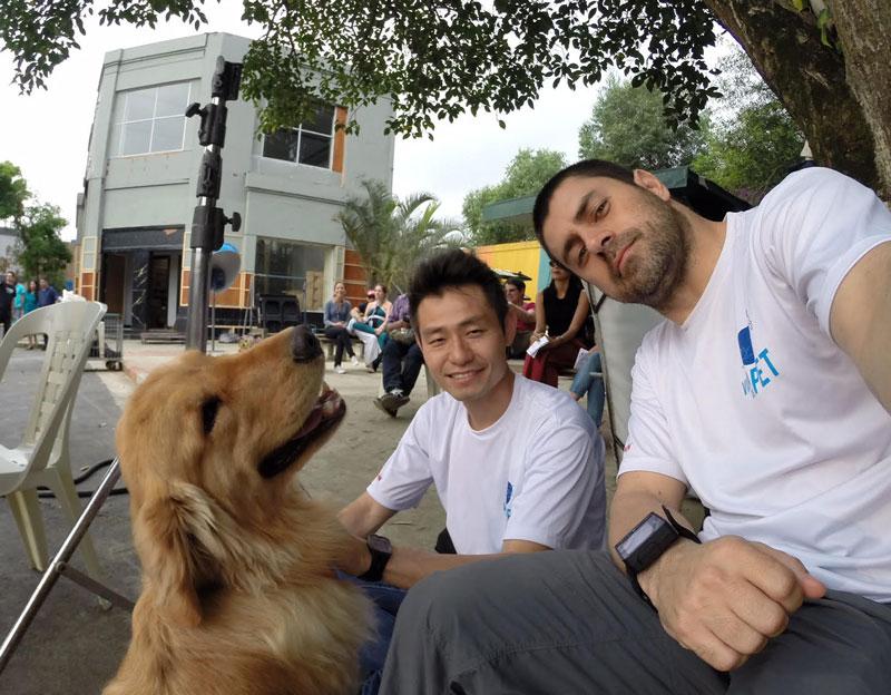 Tiago Zoriki (Amigos do Zorikão) e Ricardo Mazzaro (Vida de Pet) nas gravações de Cumplices de um Resgate da SBT